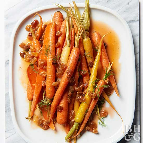 Orange-Braised Carrots with Raisins from Better Homes & Gardens