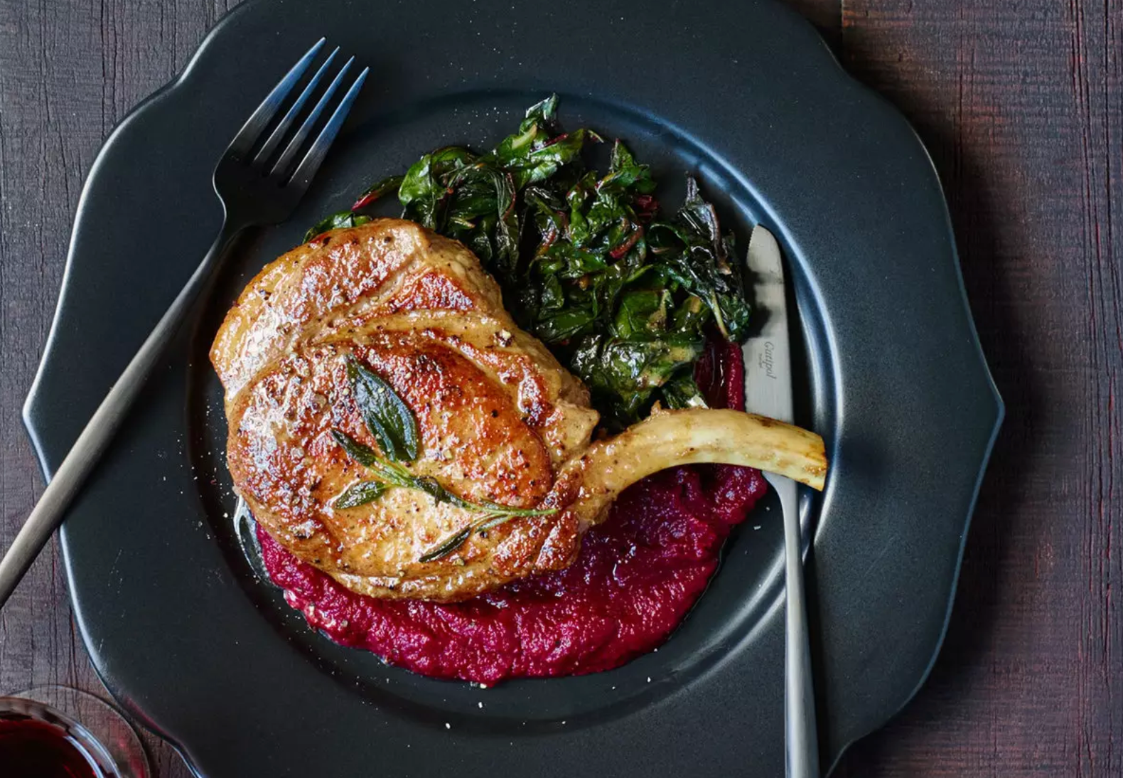Pork Chops in Sage Butter with Beet Puree and Swiss Chard from Food and Wine