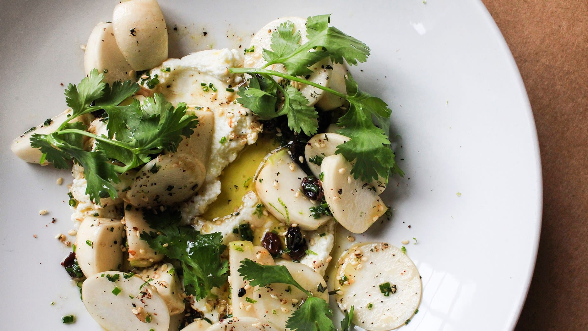 Turnips with Roasted Garlic, Goat Cheese and Sesame from Bon Appetit