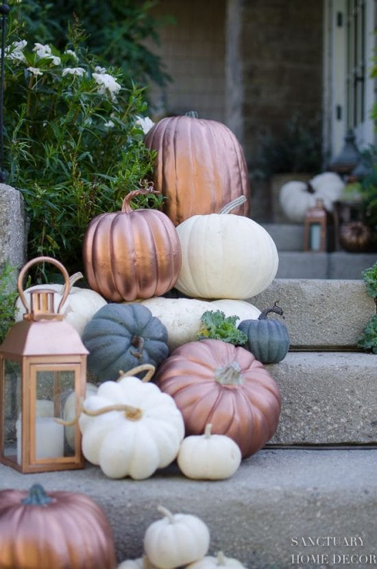 metallic pumpkins home decor