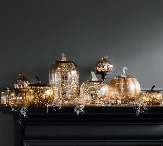 twinkle lights pumpkins home decor